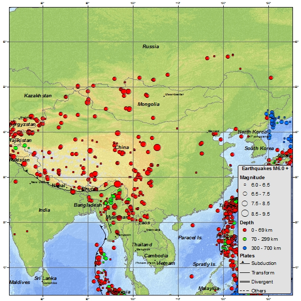 Chinese Seismicity Map 1900-March 2012 via USGS